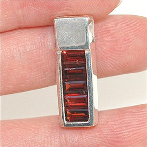Sterling Silver Garnet Channel Pendant