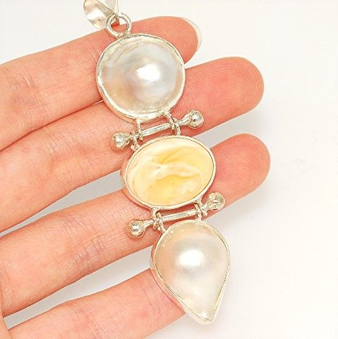 Sterling Silver, Pearl, Baltic Butterscotch Amber Pendant