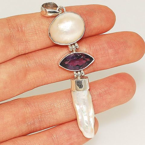 Sterling Silver, Pearl, Amethyst Pendant