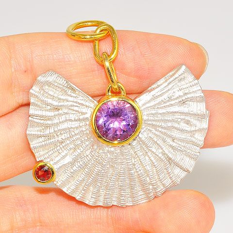 22 K Gold Vermeil and Rhodium-Plated Sterling Silver, 3.35-Carat Amethyst Pendant