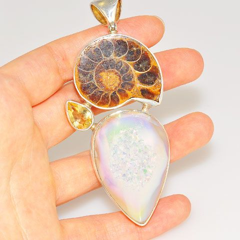 Sterling Silver Fossil Ammonite, Druzy and Citrine Pendant