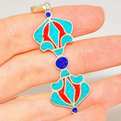 Sterling Silver Turquoise, Red Coral and Lapis Lazuli Vajra Dorje Tibetan Pendant
