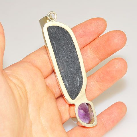 Sterling Silver Titanium Druzy and Amethyst Pendant
