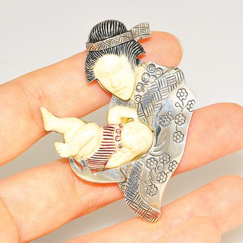 Sterling Silver Fossilized Mammoth Ivory Mother and Baby Pendant/Pin