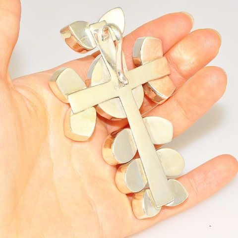 Sterling Silver Fossil Ammonite and Faceted Clear Quartz Cross Pendant