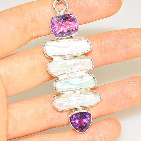 Sterling Silver Biwa Pearl and Amethyst Pendant