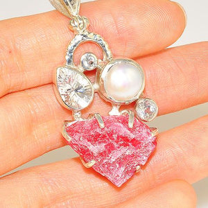 Sterling Silver Rough Rhodonite, Pearl and White Topaz Pendant
