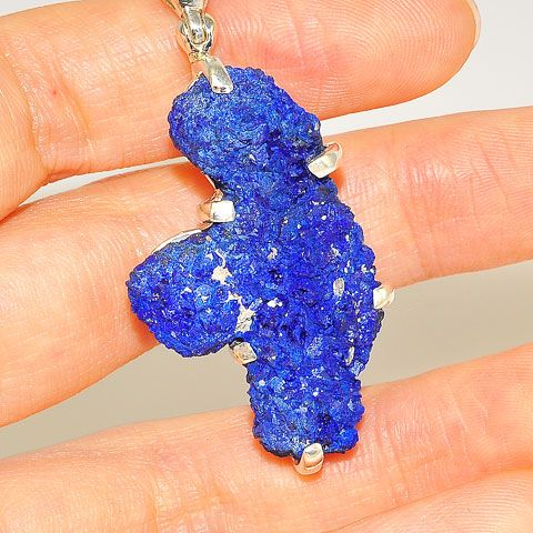 Sterling Silver Azurite Crystal Pendant