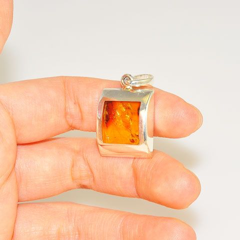Sterling Silver Baltic Honey Amber Window Pendant