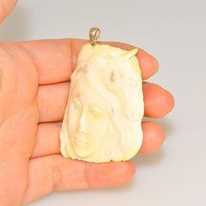 Sterling Silver Carved Moose Antler Pendant