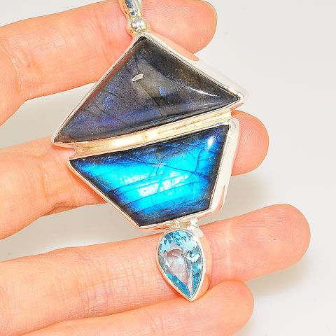 Sterling Silver Labradorite and Blue Topaz Pendant