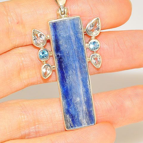 Sterling Silver Kyanite and Blue and White Topaz Pendant