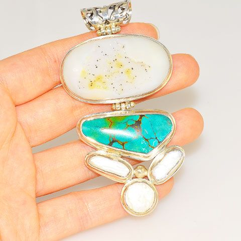 Sterling Silver Druzy, Turquoise and Pearl Pendant