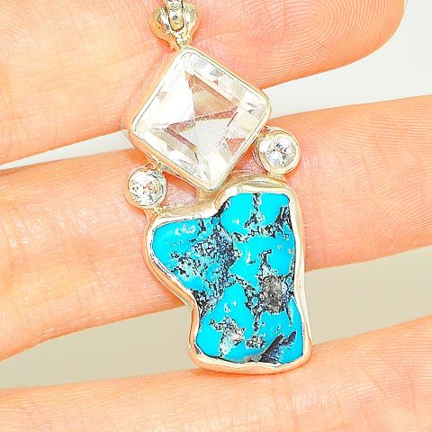 Sterling Silver Turquoise Nugget, White Topaz Pendant