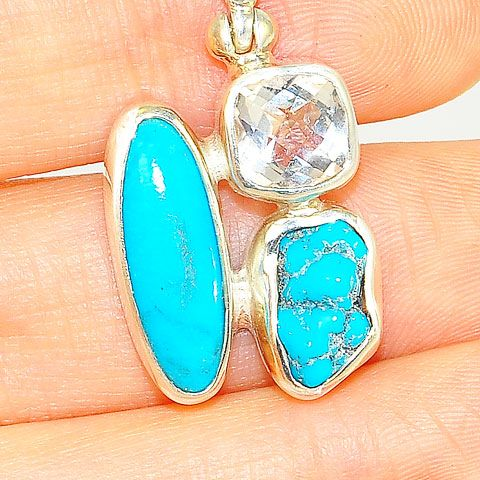 Sterling Silver Turquoise and White Topaz Pendant