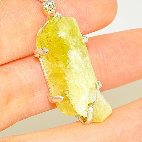 Sterling Silver Rough Prehnite Crystal Pendant