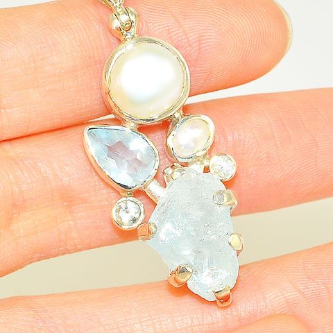 Sterling Silver Aquamarine and Pearl Pendant