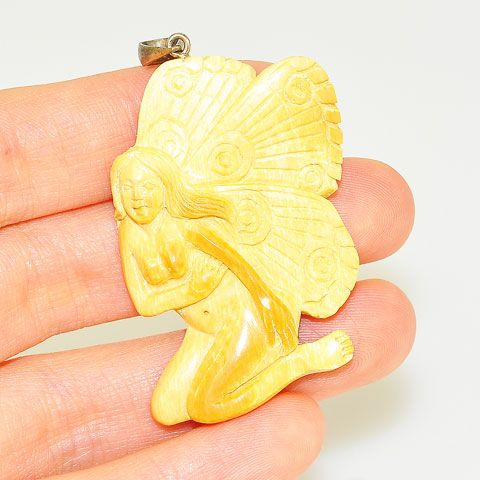 Sterling Silver Carved Mammoth Ivory Butterfly Goddess Pendant
