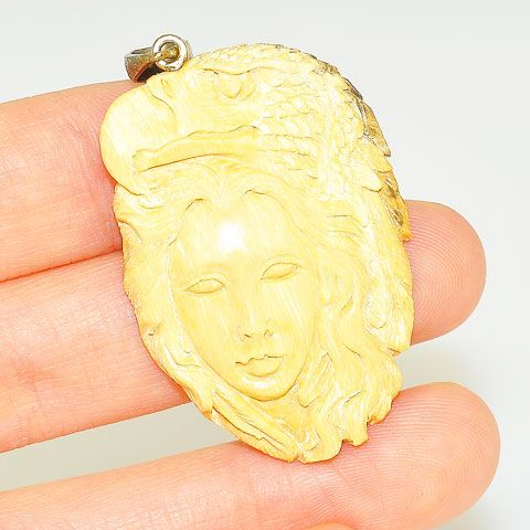 Sterling Silver Carved Mammoth Ivory Goddess and Eagle Pendant