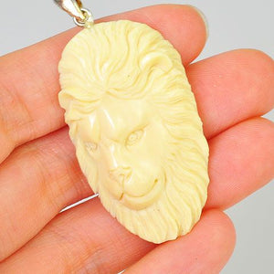 Sterling Silver Carved Fossilized Walrus Ivory Lion Pendant