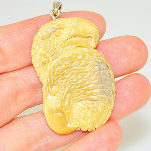 Sterling Silver Carved Mammoth Ivory Eagles Pendant