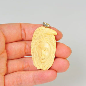 Sterling Silver Carved Mammoth Ivory Goddess and Bird Pendant