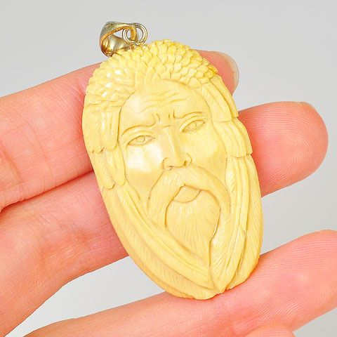 Sterling Silver Carved Mammoth Ivory God Pendant