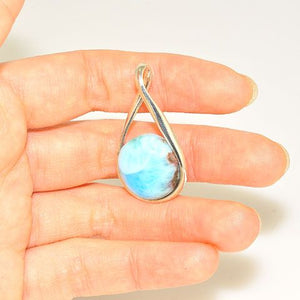 Sterling Silver Larimar Button Pendant