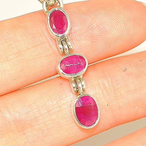 Sterling Silver Ruby Trio Pendant