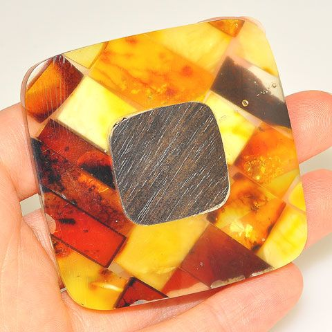 Sterling Silver Baltic Multi Amber and Ebony Wood Pin