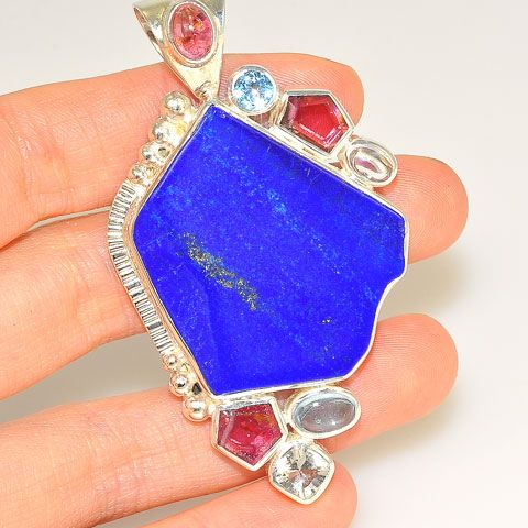 Sterling Silver Lapis Lazuli, Tourmaline and Topaz Pendant