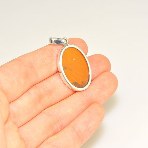 Sterling Silver Orange Butterfly Wing Oval Pendant