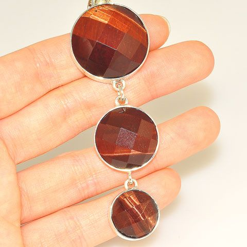Sterling Silver Faceted Tiger Eye Trio Pendant