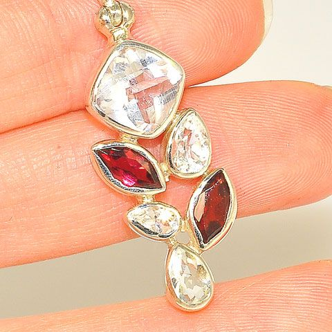 Sterling Silver White Topaz and Garnet Pendant