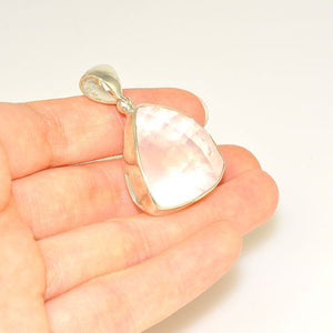 Sterling Silver Faceted Rose Quartz Trillion Pendant