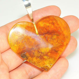 Sterling Silver Baltic Honey Amber Heart Pendant