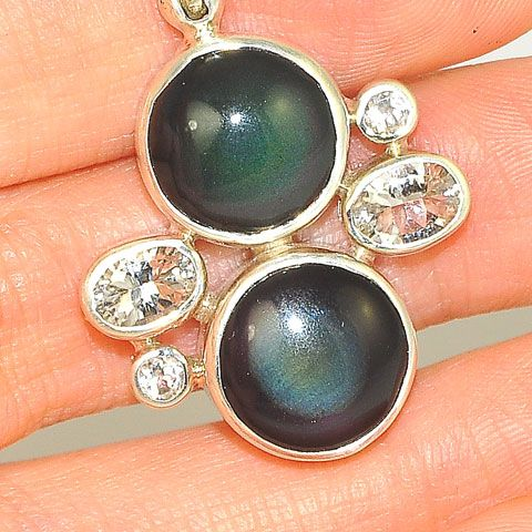 Sterling Silver Rainbow Obsidian and White Topaz Pendant