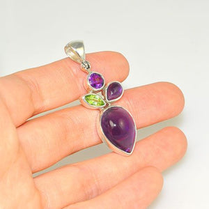 Sterling Silver Amethyst and Peridot Pendant