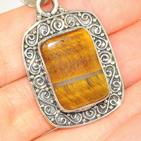 Sterling Silver Tiger Eye and Citrine Pendant