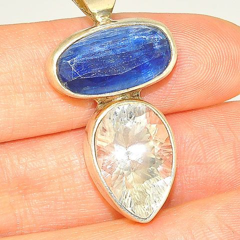 Sterling Silver Kyanite and White Topaz Pendant
