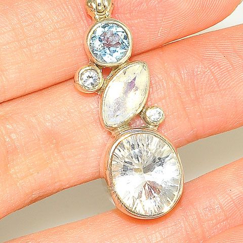 Sterling Silver Quartz and Topaz Pendant