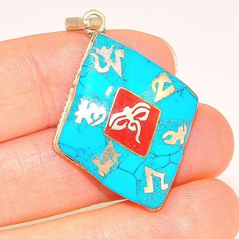 Sterling Silver Turquoise and Red Coral Tibetan Om and Buddha Eyes Pendant