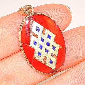 Sterling Silver Red Coral and Lapis Lazuli Tibetan Endless Knot Pendant