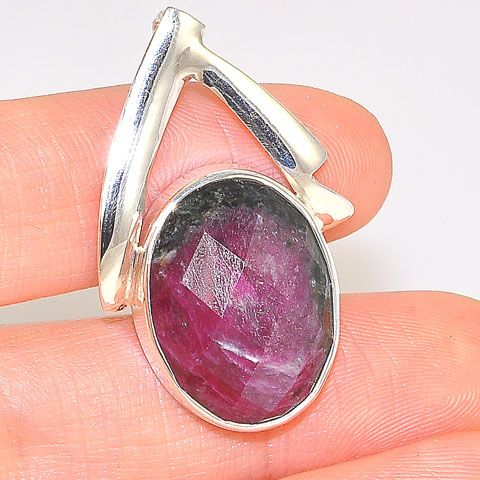 Sterling Silver Faceted Ruby Zoisite Oval Pendant