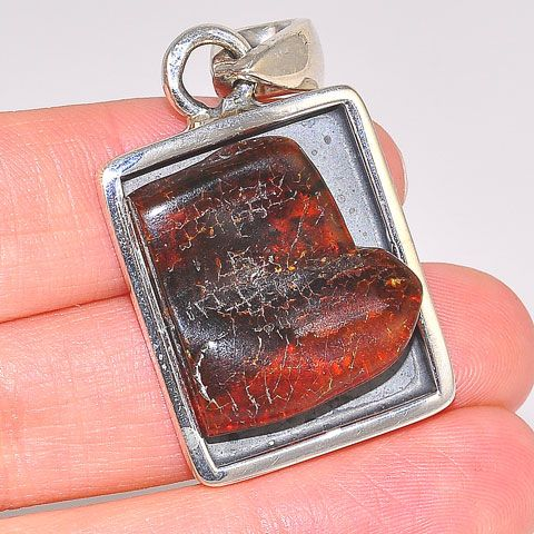 Sterling Silver Baltic Honey Amber Frame Pendant