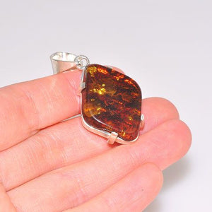 Sterling Silver Baltic Honey Amber Pendant