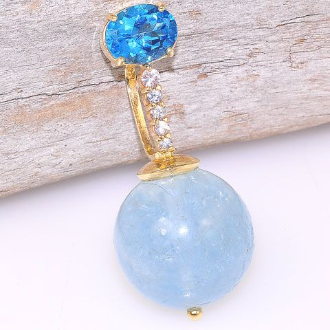 14K Solid Yellow Gold 28 c.t. Aquamarine, Diamond and Blue Topaz Pendant
