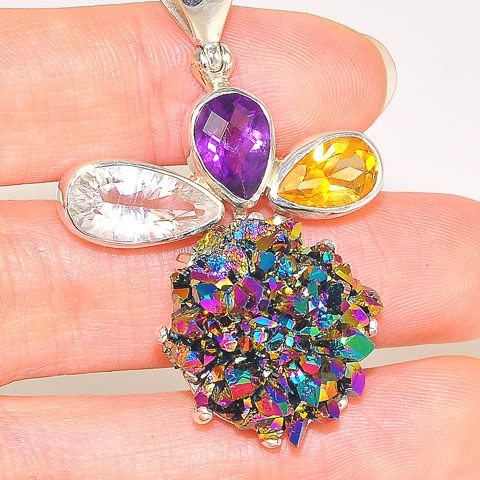 Sterling Silver Titanium Druzy, Citrine and Amethyst Pendant
