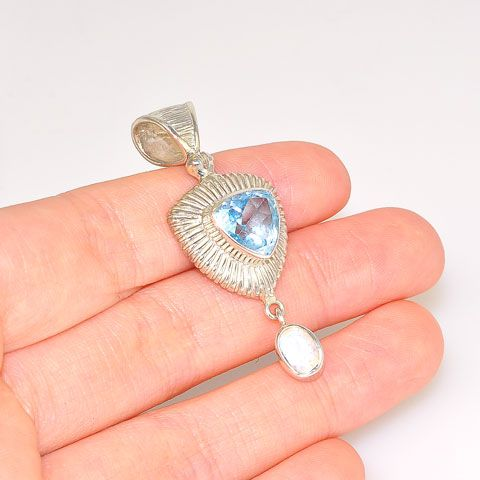 Sterling Silver Blue Topaz and Moonstone Pendant