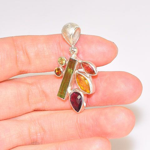 Sterling Silver Rainbow Tourmaline Pendant